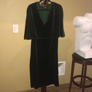Green velvet material dress